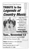 Consort Lions Club Presents TRIBUTE to the Legends of Country Music