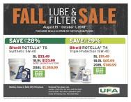 UFA FALL LUBE & FILTER SALE