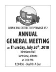MUNICIPAL DISTRICT OF PROVOST #52 ANNUAL GENERAL MEETING