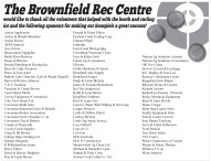 wnfield Rec Centre would like to thank all the volunteers