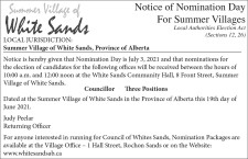 Notice of Nomination Day For Summer Villages