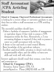 Staff Accountant /CPA Articling Student wanted
