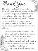 Devereux family would like to thank all those who expressed kindness