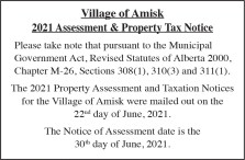 Village of Amisk 2021 Assessment & Property Tax Notice