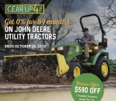 Get 0% for 84 months ON JOHN DEERE UTILITY TRACTORS