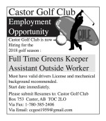 Castor Golf Club Employment Opportunity