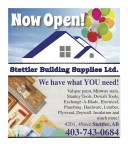 Stettler Building Supplies Now Open!
