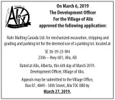 The Development Officer For the Village of Alix approved applications