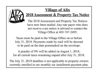 Village of Alix 2018 Assessment & Property Tax Notice
