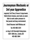 Journeyman Mechanic or 3rd year Apprentice required
