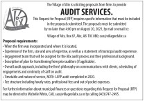 The Village of Alix is soliciting proposals from firms to provide AUDIT SERVICES.