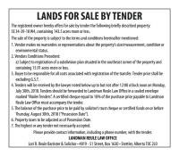 LANDS FOR SALE BY TENDER