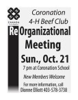 Coronation 4-H Beef Club  Re Organizational Meeting