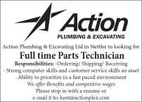 Action Plumbing & Excavating Ltd in Stettler in looking for Full time Parts Technician