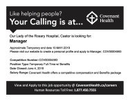 Manager Wanted at Our Lady of the Rosary Hospital